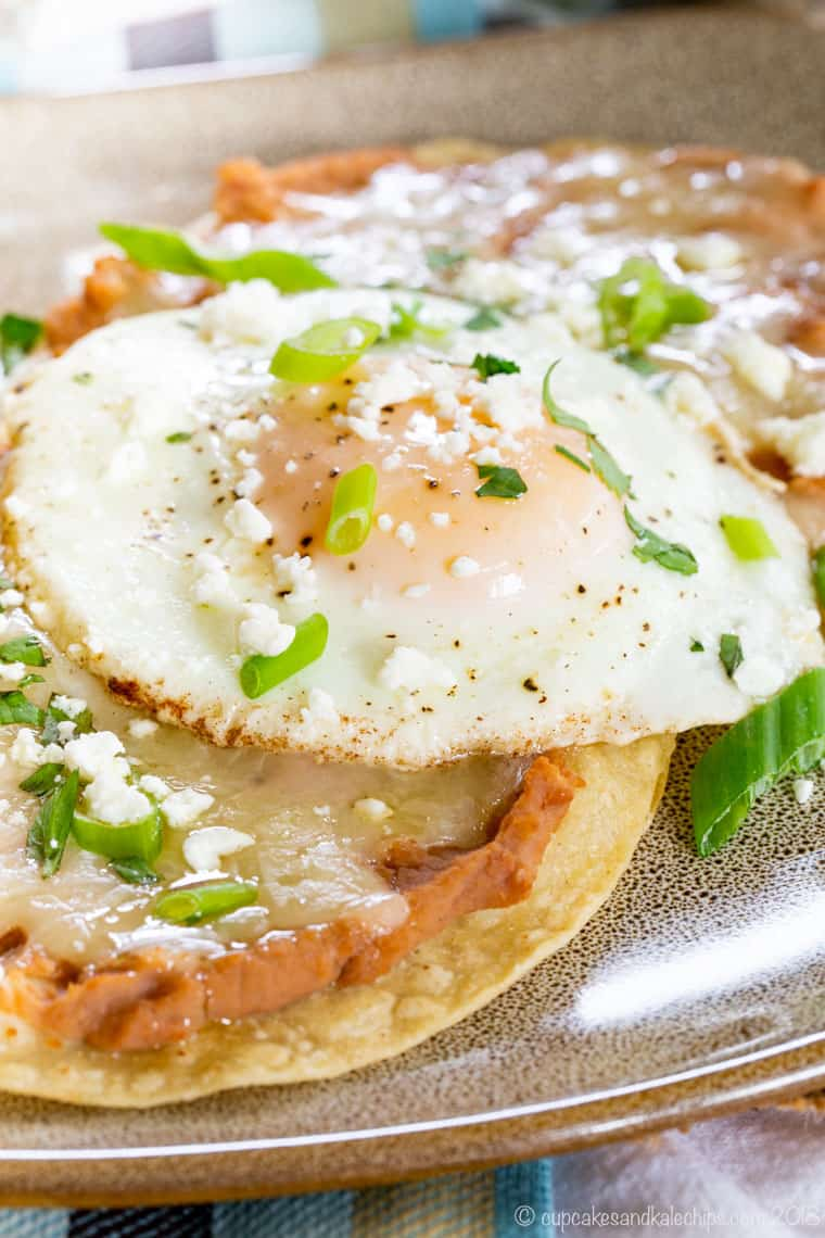 Closeup of egg on top of Breakfast Tostadas