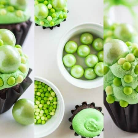 collage of choclate cupcakes decorated with green crosting and various size sprinkles to look like a witches cauldron