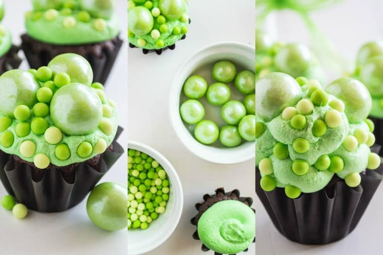 Collage of cupcakes and topping to make them look like green witches brew