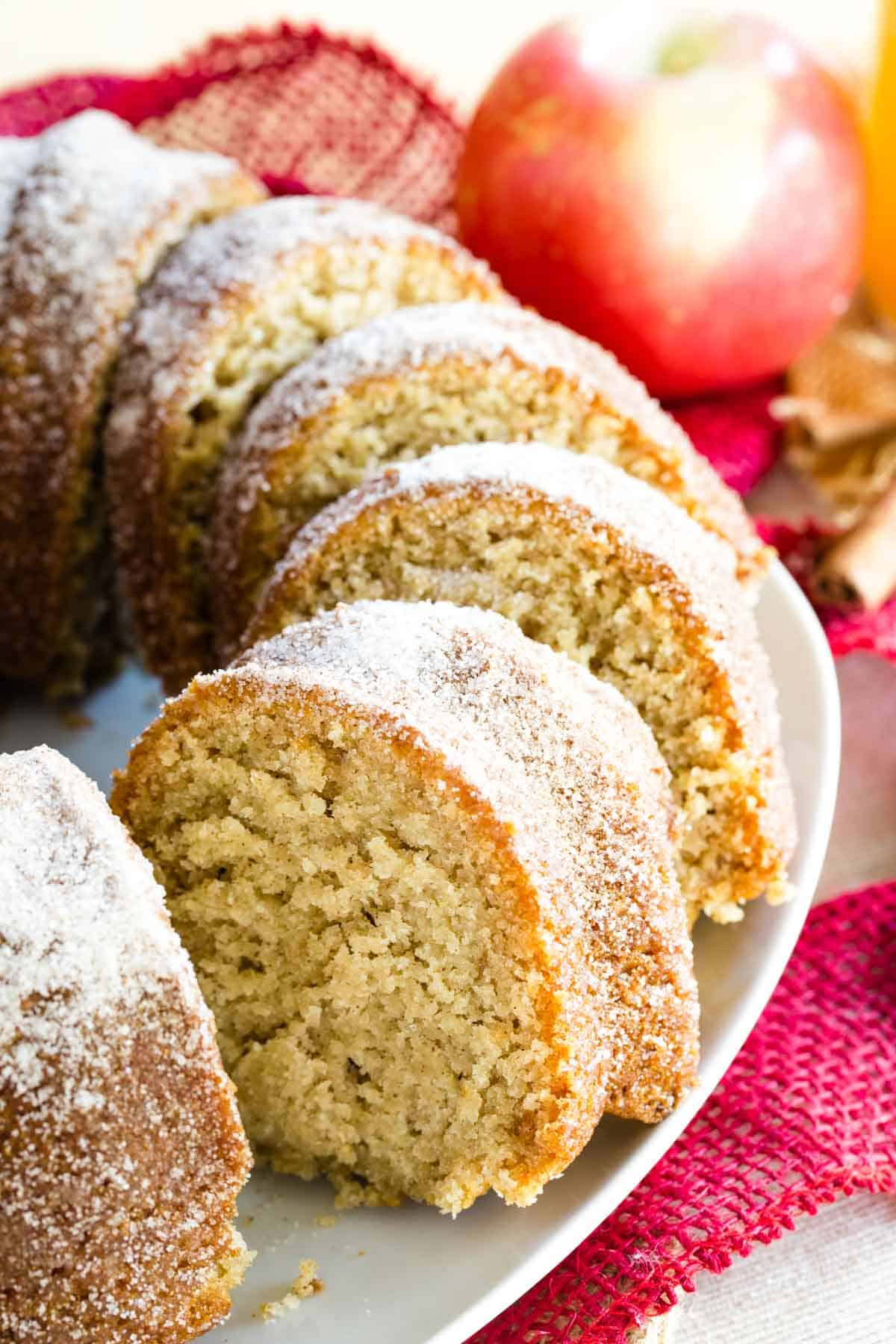 Sliced Gluten Free Apple Cider Donut Cake