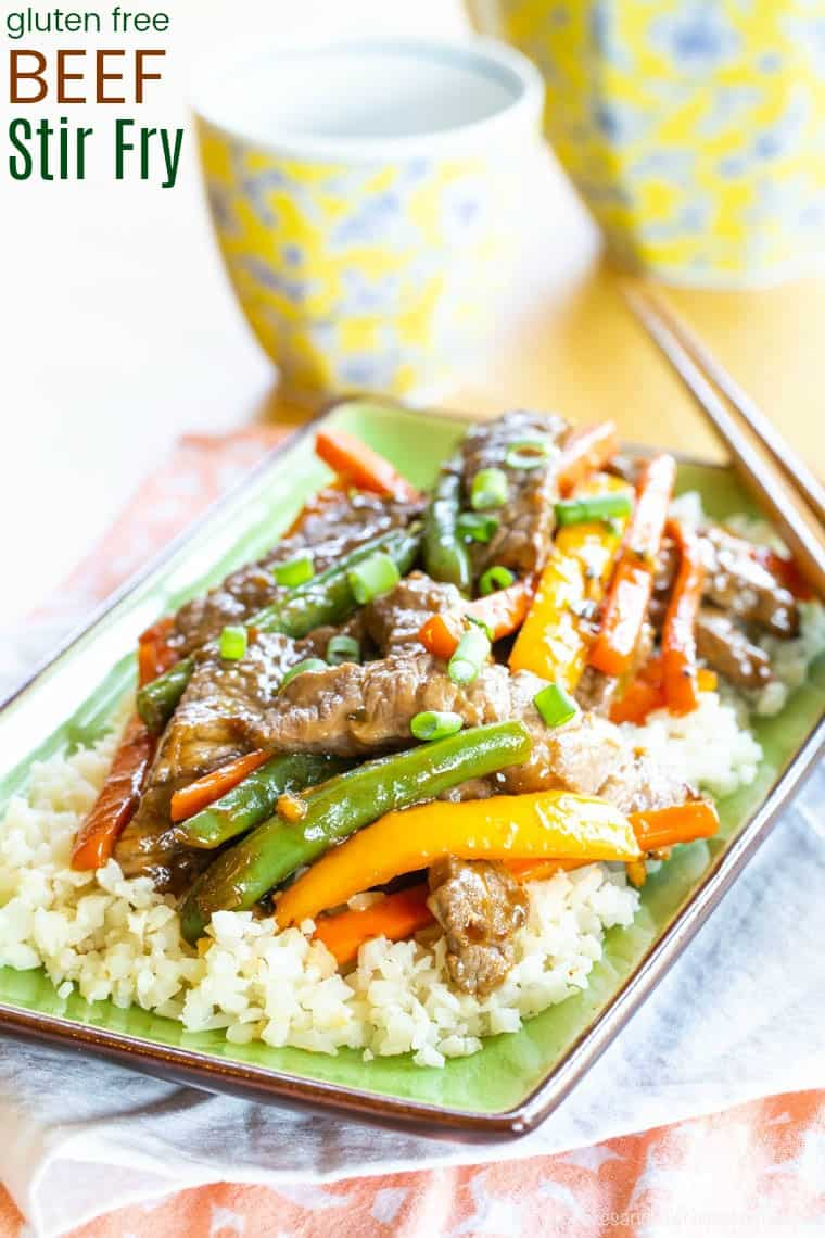 Gluten Free Beef Stir Fry Recipe with Veggies image with title