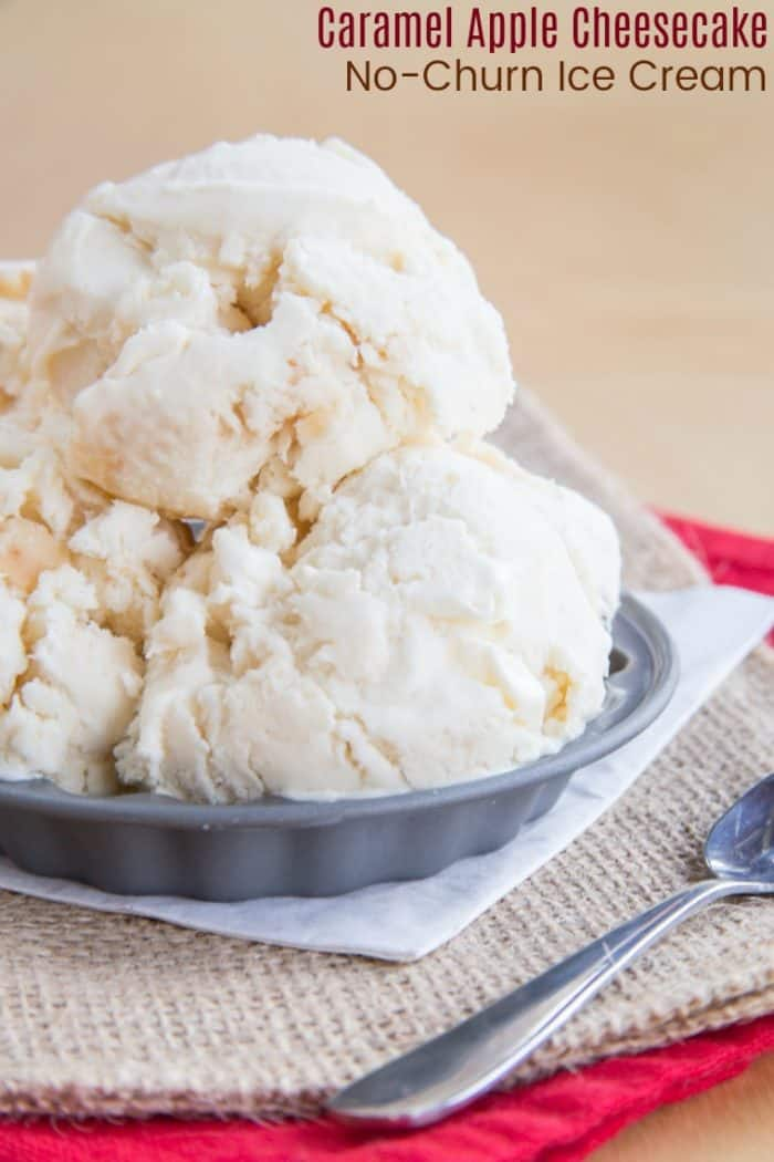 No Churn Cheesecake Caramel Apple Ice Cream Recipe