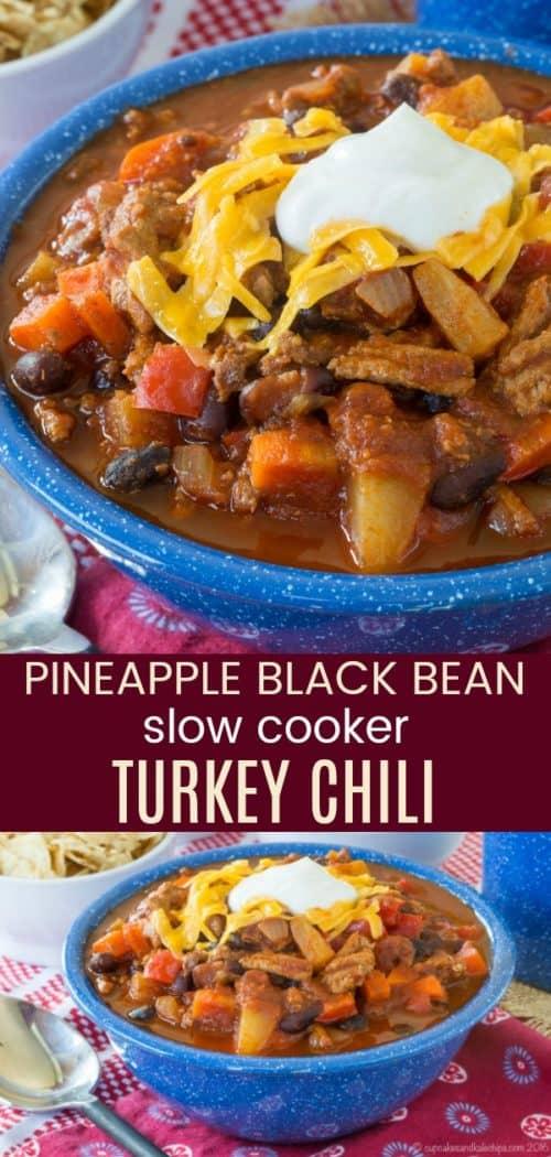 Pineapple Black Bean Slow Cooker Turkey Chili Collage