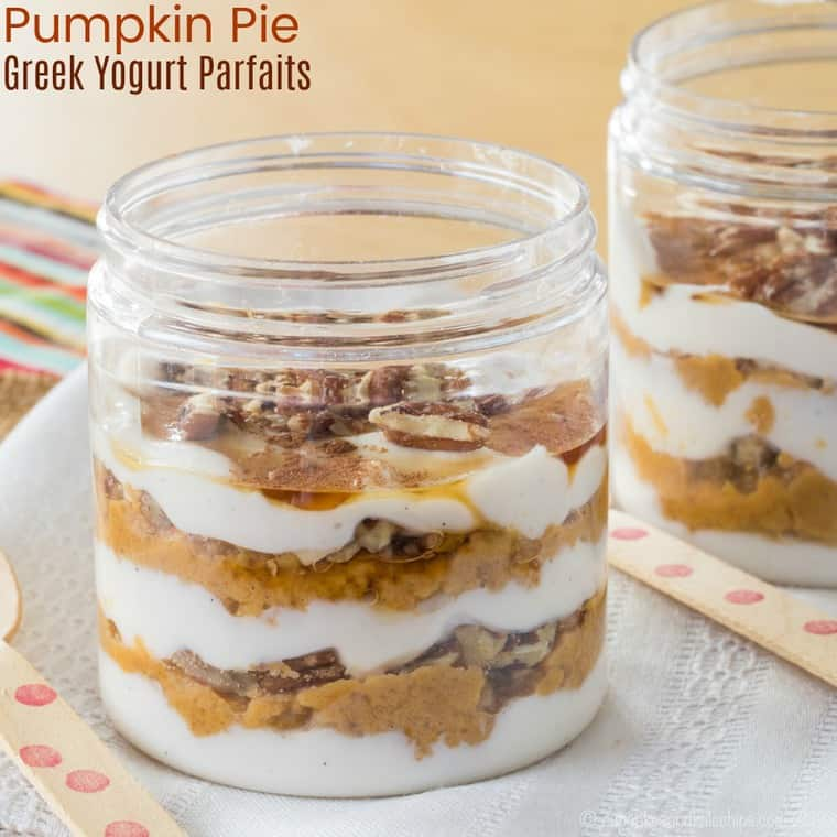 Pumpkin Pie Greek Yogurt Parfaits Made with Leftover Pumpkin Pie