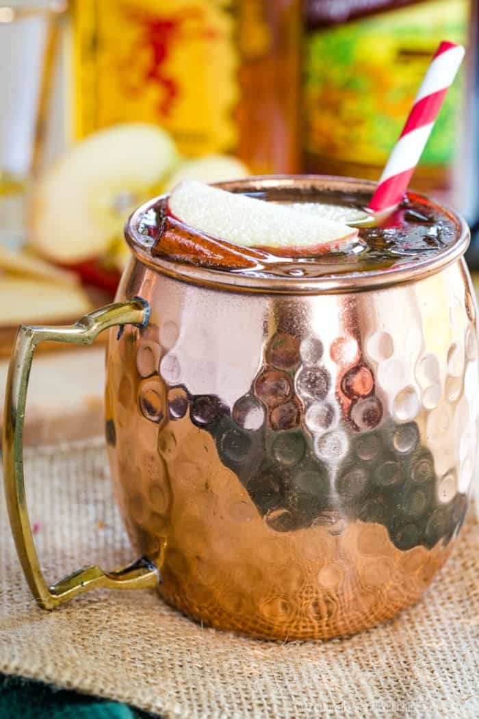 Apple Cider Moscow Mule in a Copper Mug