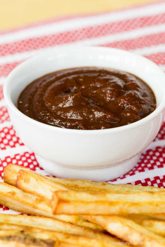 Balsamic Ketchup in a small white bowl for dipping oven fries
