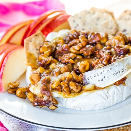 Honey Nut Baked Brie Cheese is an easy appetizer with crackers and apple slices