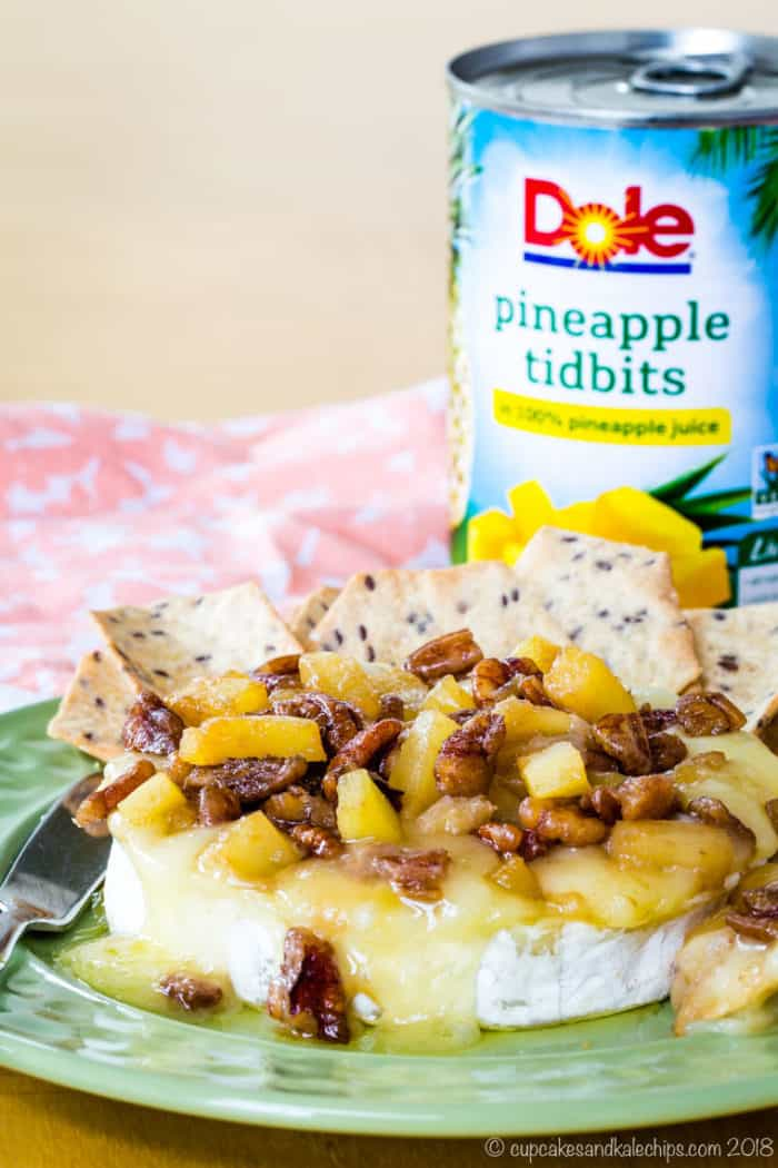 Pineapple Pecan Baked Brie made with Dole Pineapple Tidbits