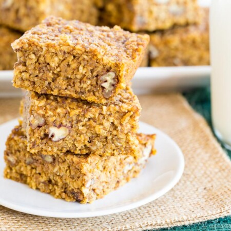 Pumpkin Quinoa Baked Breakfast Bars on a white plate