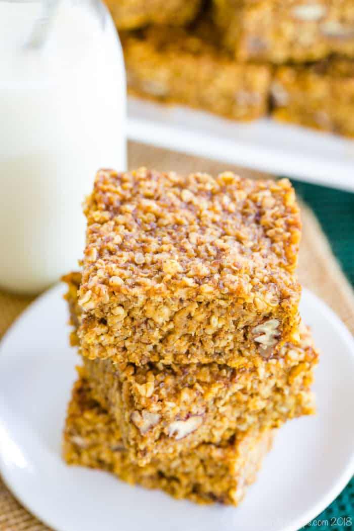 A stack of Pumpkin Breakfast Bars with quinoa