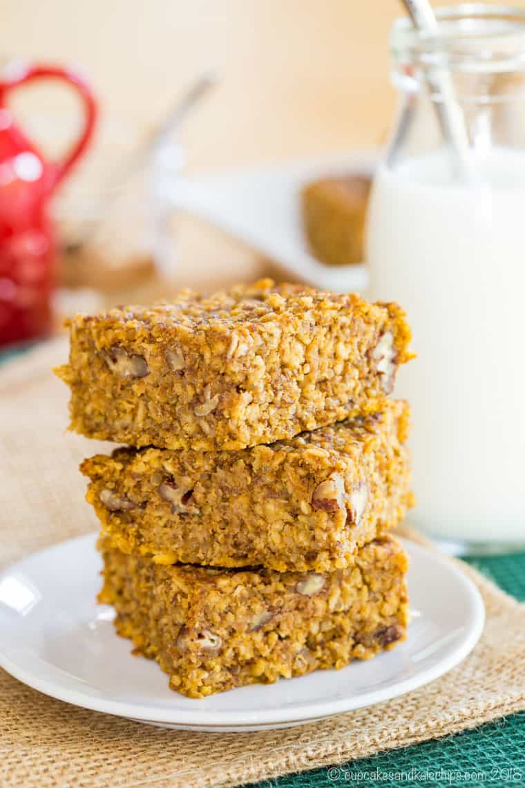 Pumpkin Oatmeal Bars with a bottle of milk