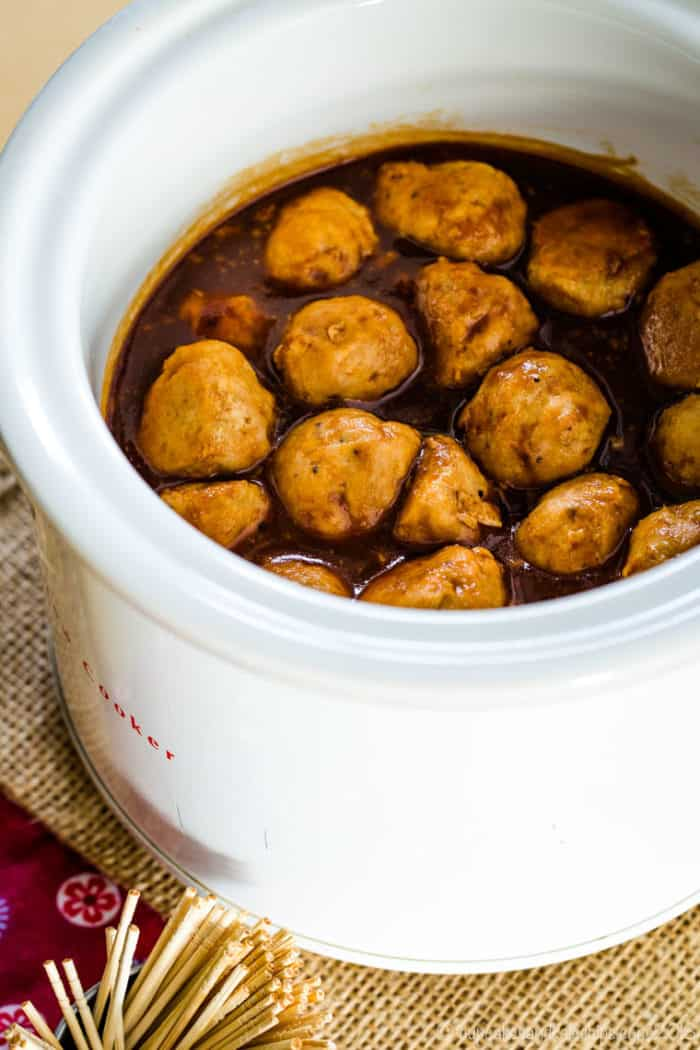 Apple Cider BBQ Turkey Meatballs in a mini crockpot for a party appetizer