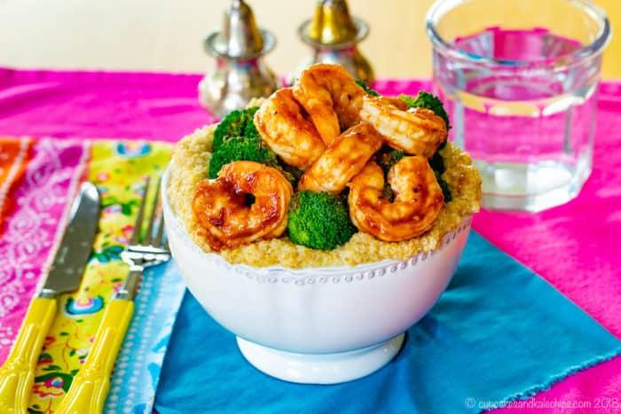 BBQ shrimp quinoa bowls with broccoli