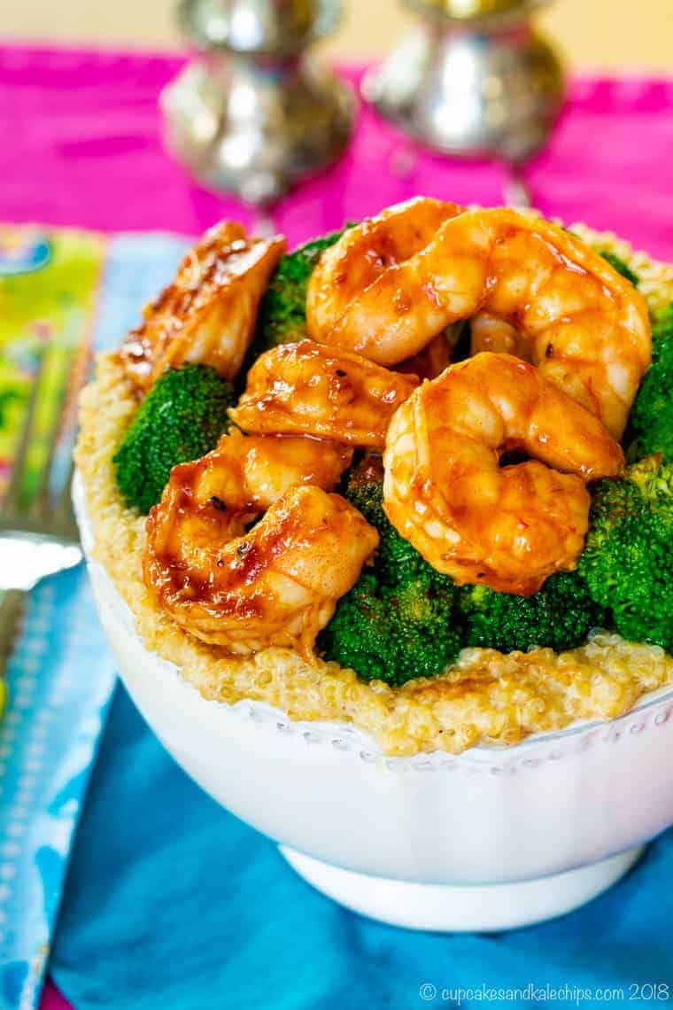gluten free BBQ shrimp quinoa bowl