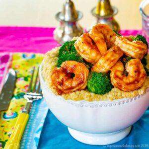 BBQ shrimp bowl with cheesy quinoa