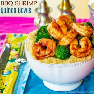 BBQ shrimp bowl with cheesy quinoa