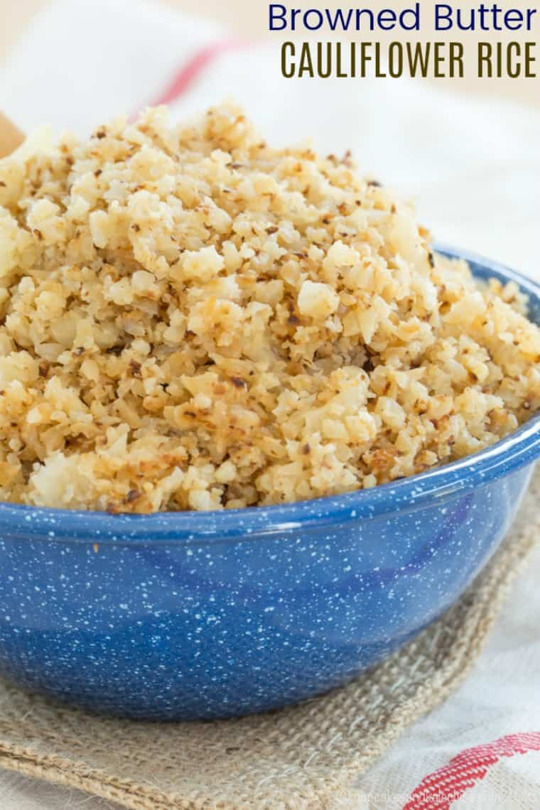 Browned Butter Cauliflower Rice Recipe image with text