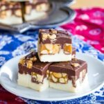 Snickers Candy Bar Fudge on a plate