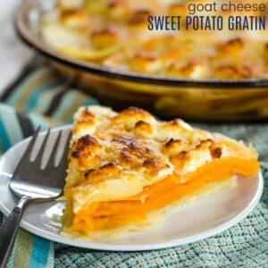 Goat Cheese Sweet Potato Gratin