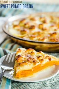 Goat Cheese Sweet Potato Gratin Recipe with text