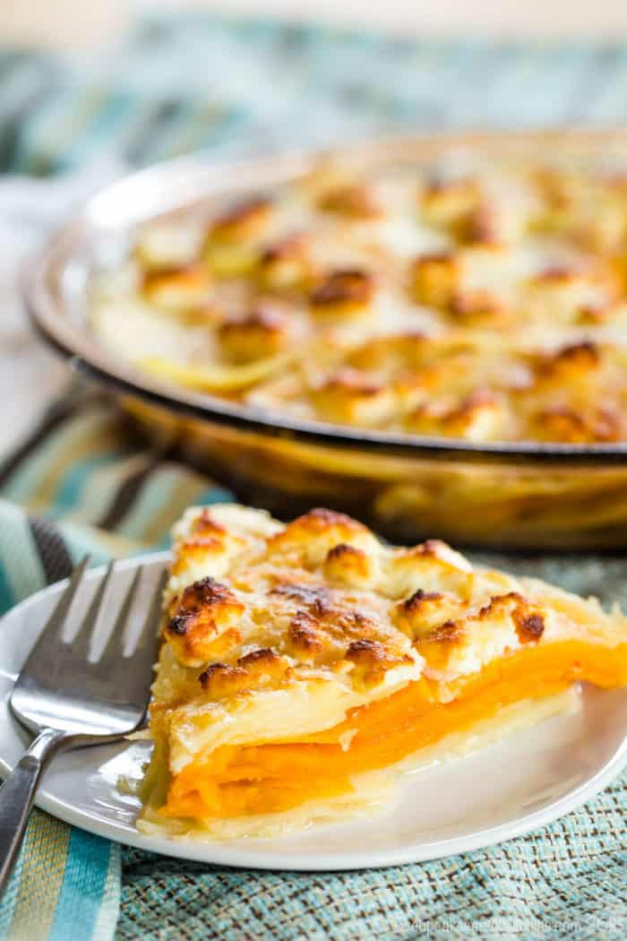 Goat Cheese Sweet Potato Gratin Brunch Side Dish Recipe
