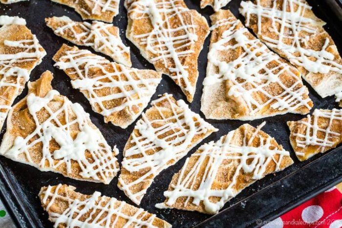 Snickerdoodles White Chocolate Bark on a cookie sheer