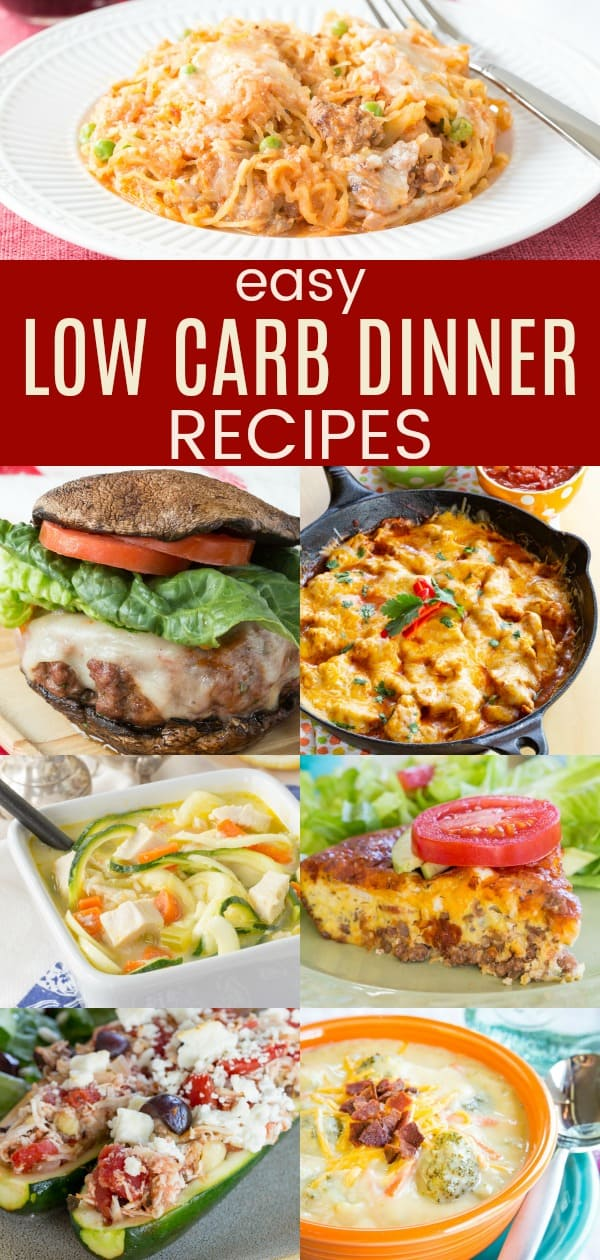 Easy Low Carb Dinner Recipes - over 30 recipes that make a low carb or keto dinner quick and easy. There are recipes for chicken, turkey, beef, pork, eggs, and even vegetarian. Gluten free, with some paleo and Whole 30 friendly options too. #lowcarb #ketodiet #glutenfree