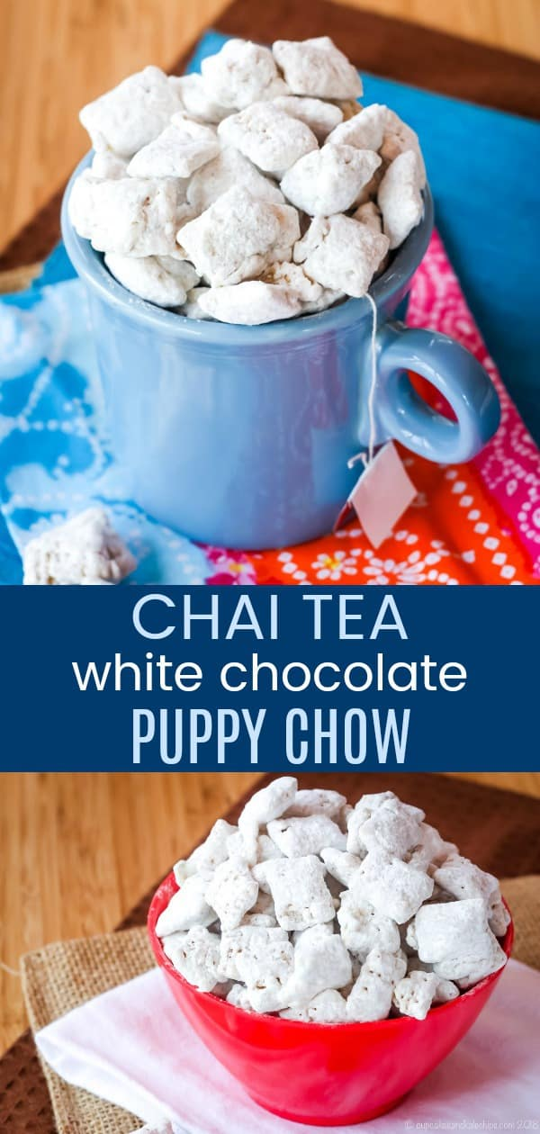 Chai Tea White Chocolate Puppy Chow - a fun no-bake snack mix with the warm spices of a Chai tea latte. This muddy buddies recipe made with Chex cereal is also gluten free. #muddybuddies #puppychow #chai #glutenfree