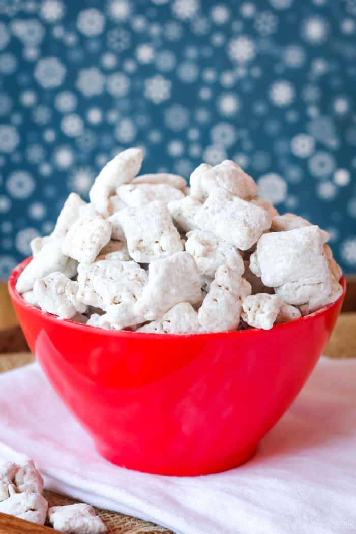 Chai White Chocolate Puppy Chow in a red bowl