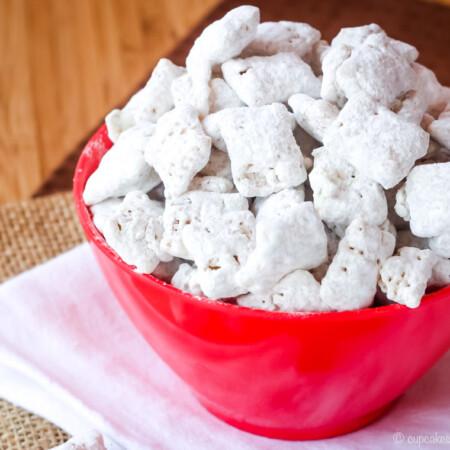 Red Bowl of Chai Tea White Chocolate Muddy Buddies