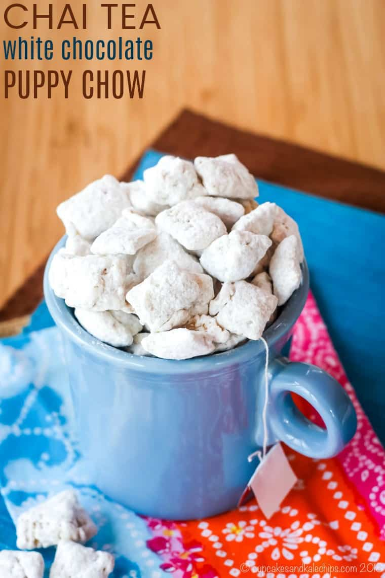 Chai Tea White Chocolate Puppy Chow Recipe with title