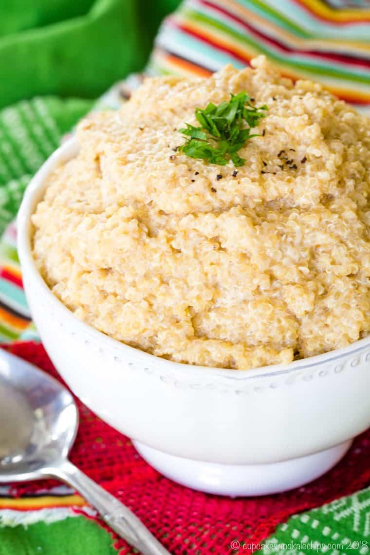 Cheesy quinoa from above with green napkin
