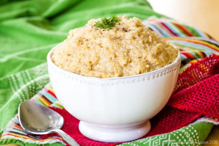 Cheddar Cheese Quinoa in a fancy white bowl