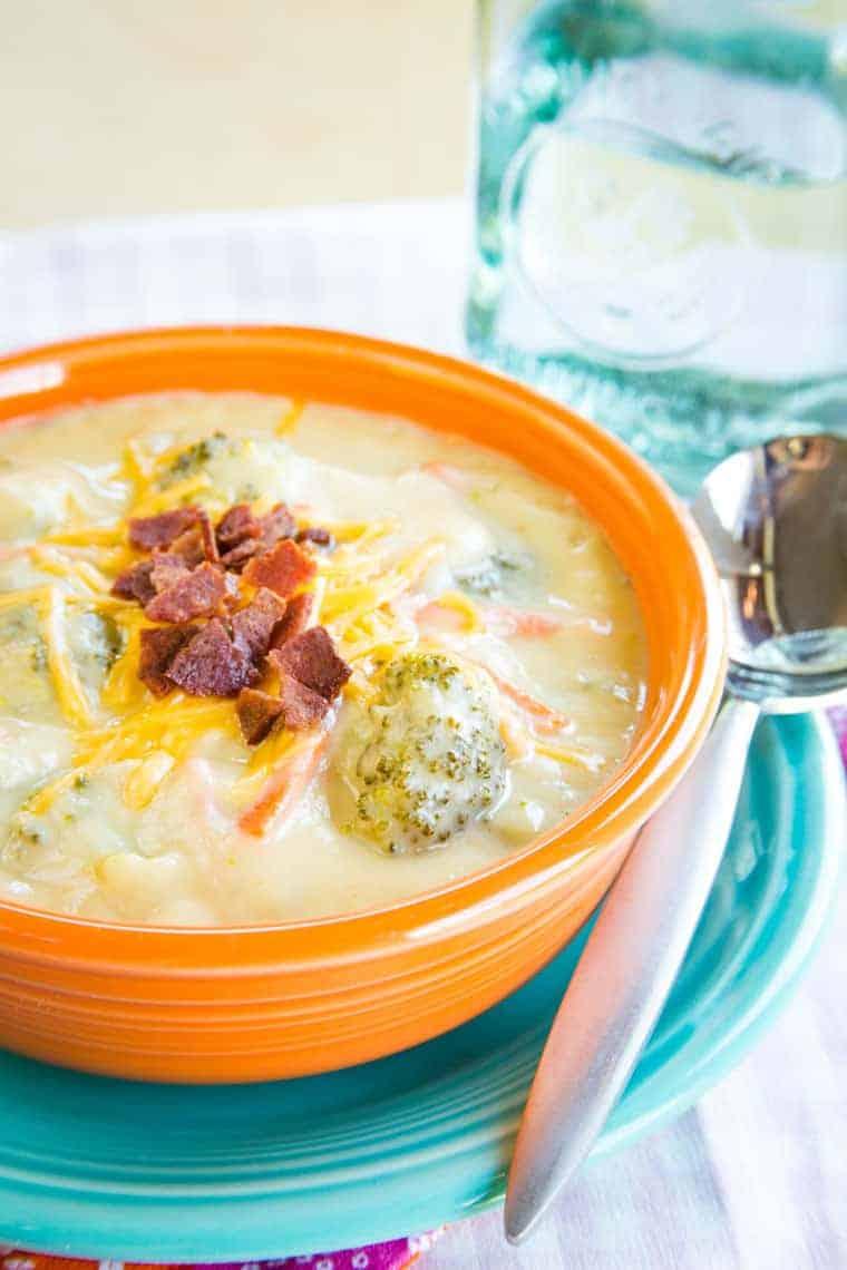 Creamy Low Carb Cauliflower Broccoli Cheese Soup