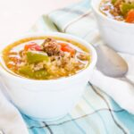Low Carb Stuffed Pepper Soup made in a pressure cooker or slow cooker