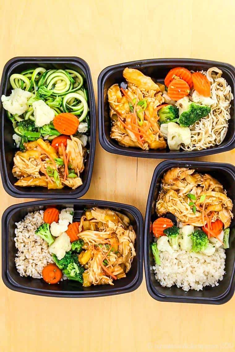 Slow Coker or Pressure Cooker Pineapple Teriyaki Chicken in meal prep containers