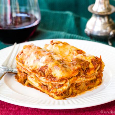 The World's Best Gluten Free Lasagna on a plate