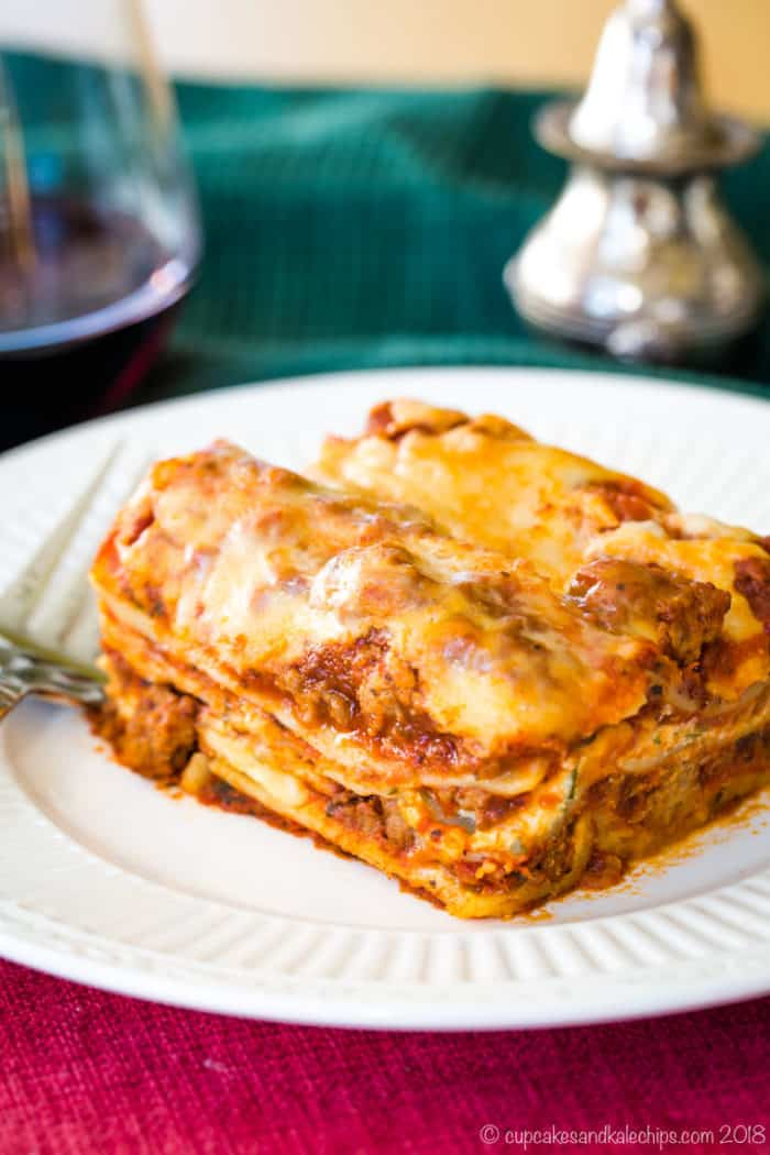 Homemade Gluten Free Lasagna on a plate