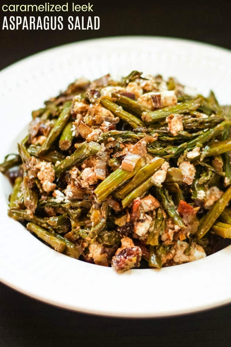Caramelized Leek Asparagus Salad Recipe with balsamic vinegar, goat cheese, and dried cherries
