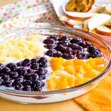 Greek Yogurt Fruit Dip with apples and graham crackers for dipping