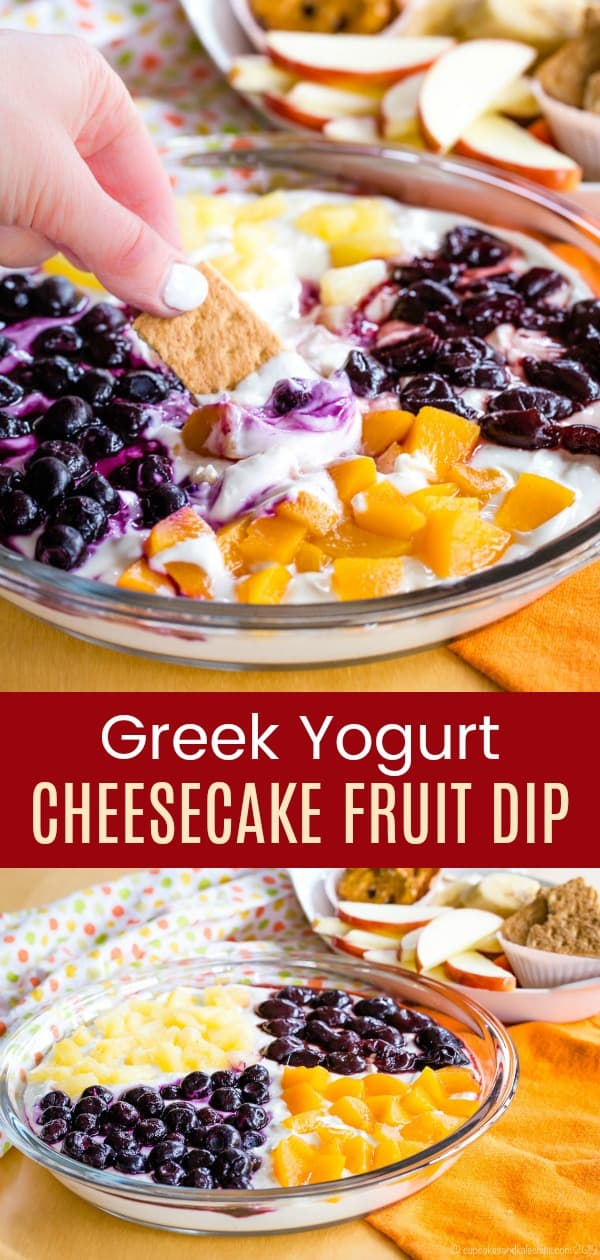 Party Size Greek Yogurt Cheesecake Fruit Dip Pin Collage