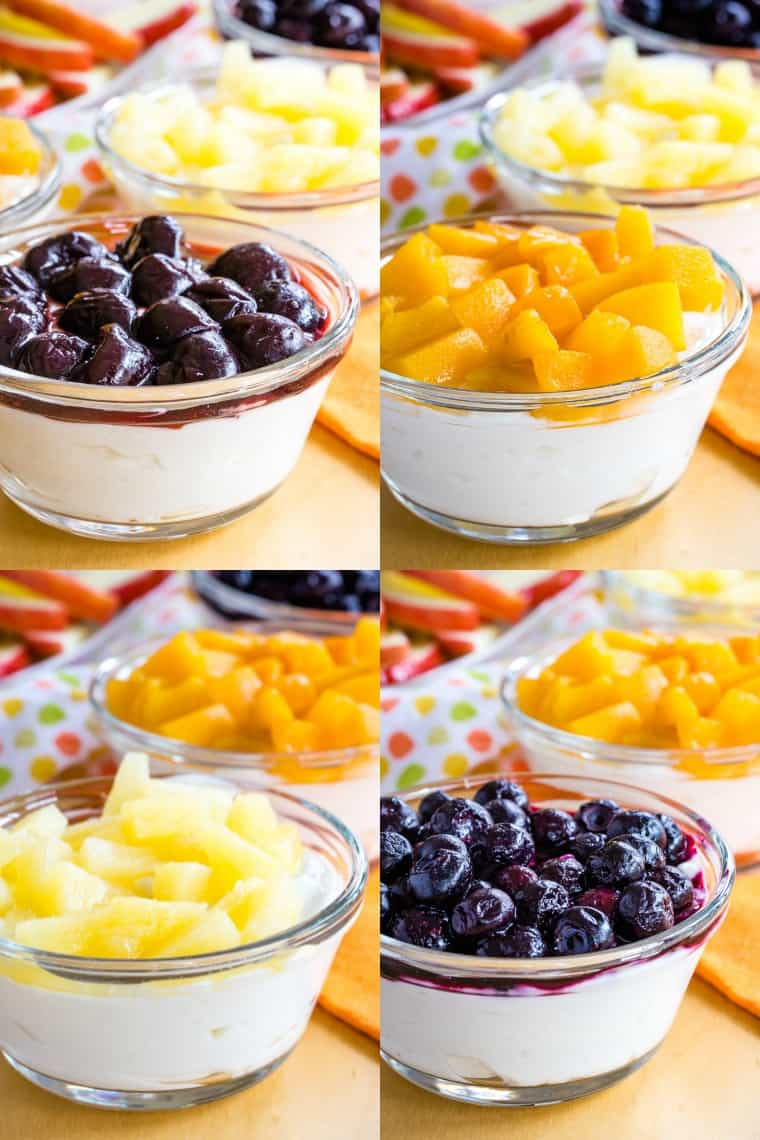 Collage of Individual Greek Yogurt Cheesecake Dips topped with different types of fruit