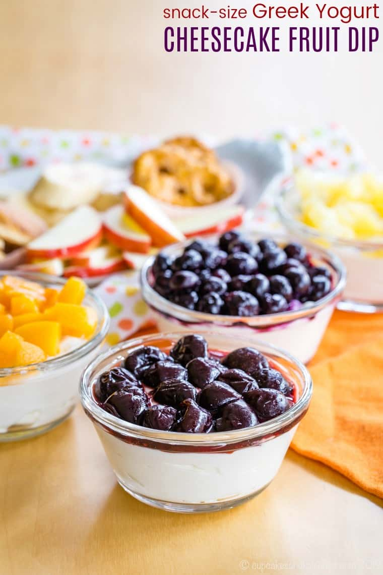 Snack Size Greek Yogurt Cheesecake Fruit Dip Recipe with title