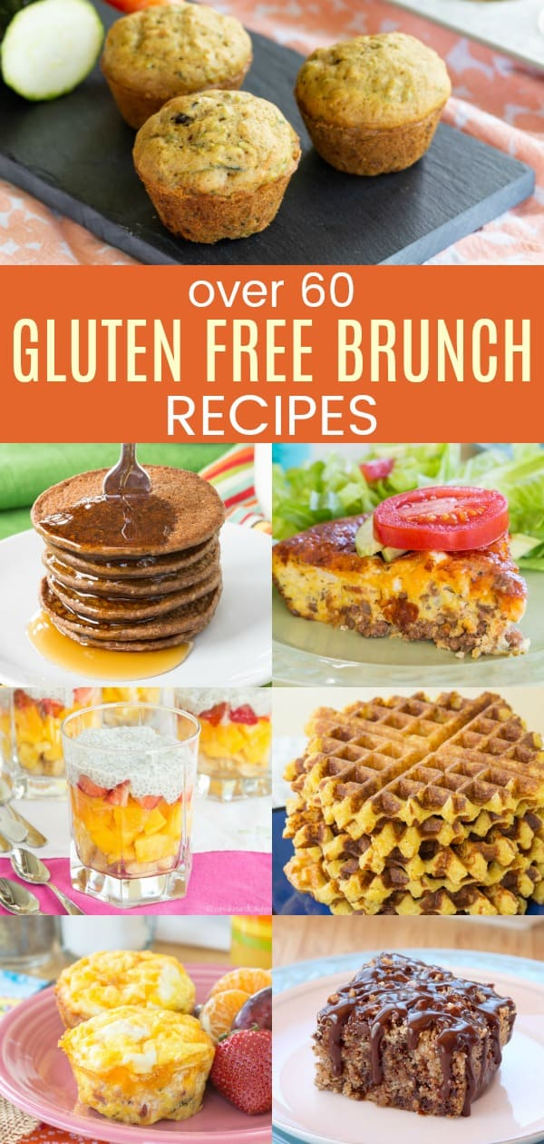 The Best Gluten Free Brunch Recipes with pictures of pancakes, waffles, eggs, muffins, and more