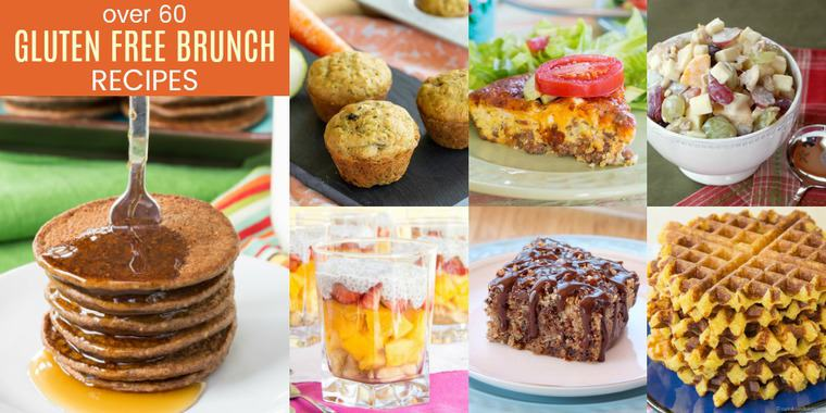 Collage of pancakes, muffins, waffles and more of the best gluten free brunch recipes