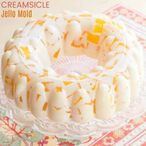 Creamsicle Jello Mold on a clear serving plate
