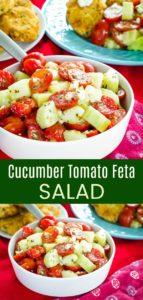Cucumber Tomato Feta Salad Pinterest collage
