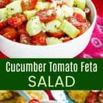 Cucumber Tomato Feta Salad Pinterest collage