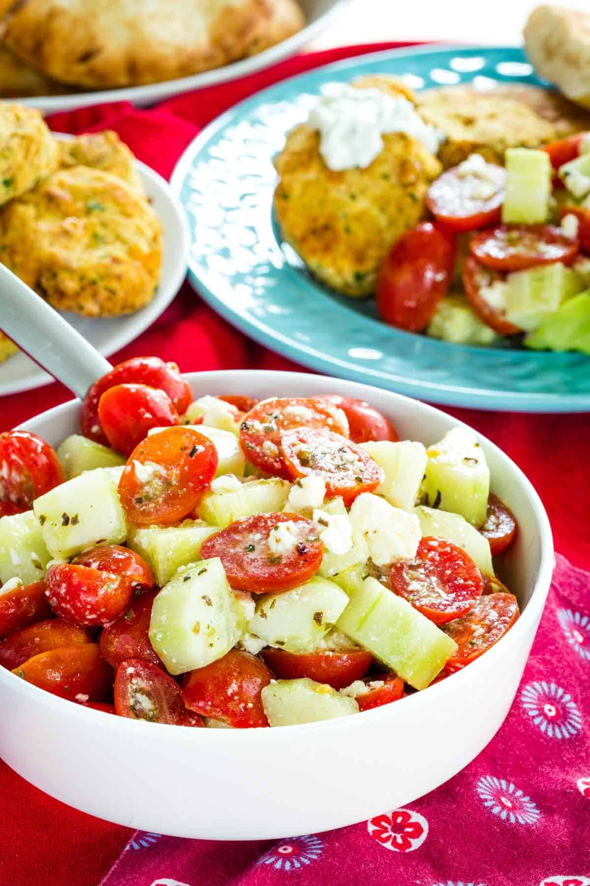Cucumber Tomato Salad with Feta as part of a Mediterranean meal
