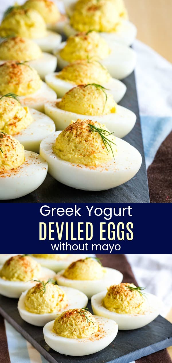 Greek Yogurt Deviled Eggs Pinterest collage